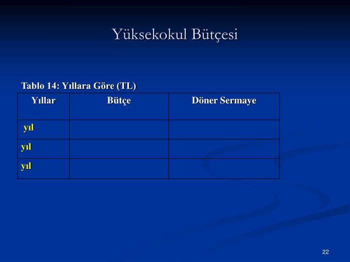Yüksekokul Bütçesi
