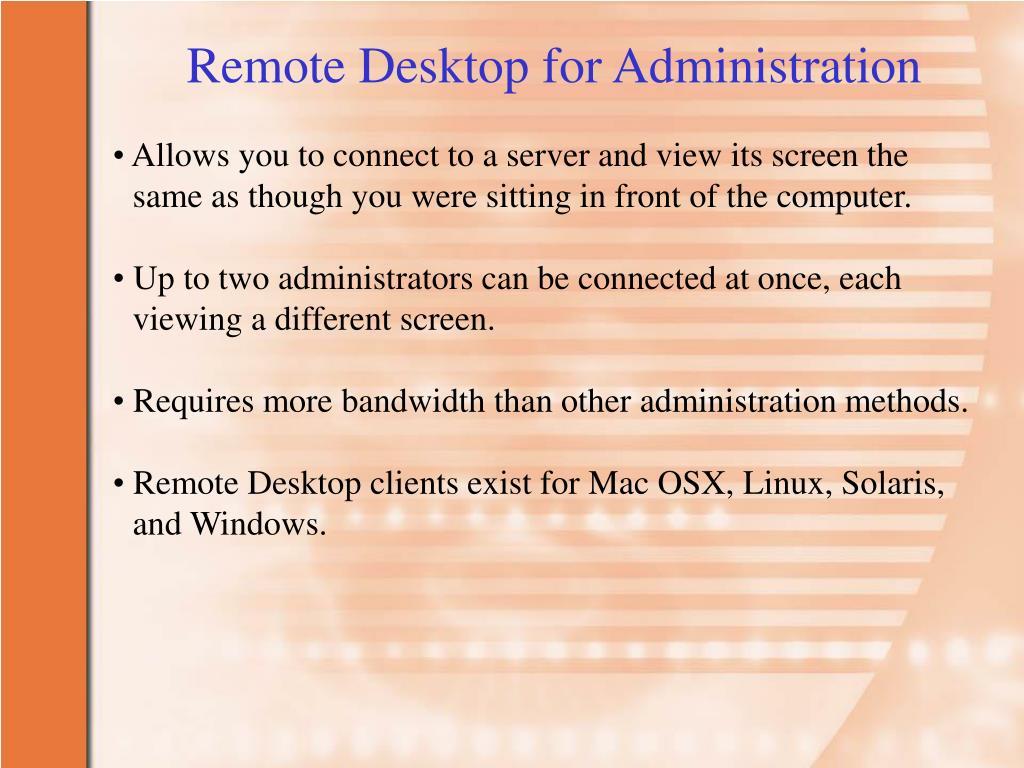 Remote Desktop for Administration