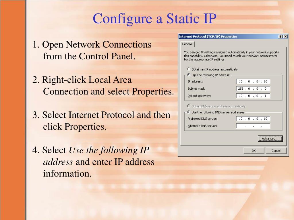 Configure a Static IP