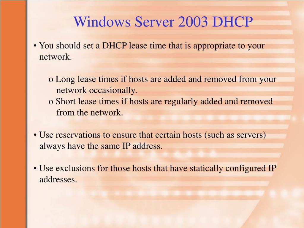 Windows Server 2003 DHCP
