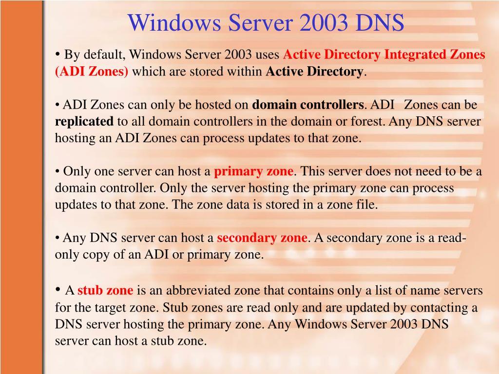 Windows Server 2003 DNS