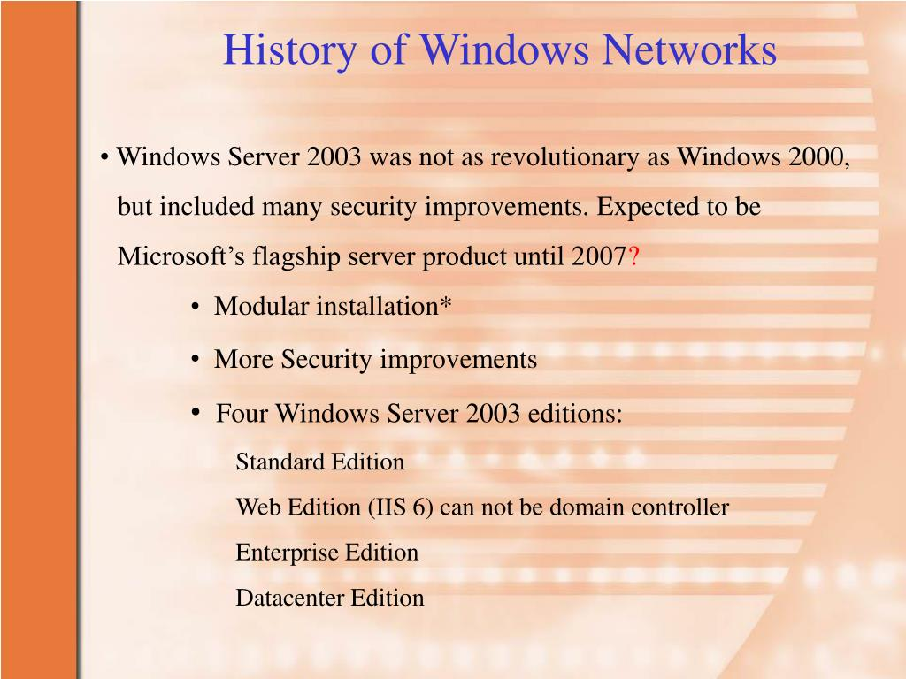 History of Windows Networks