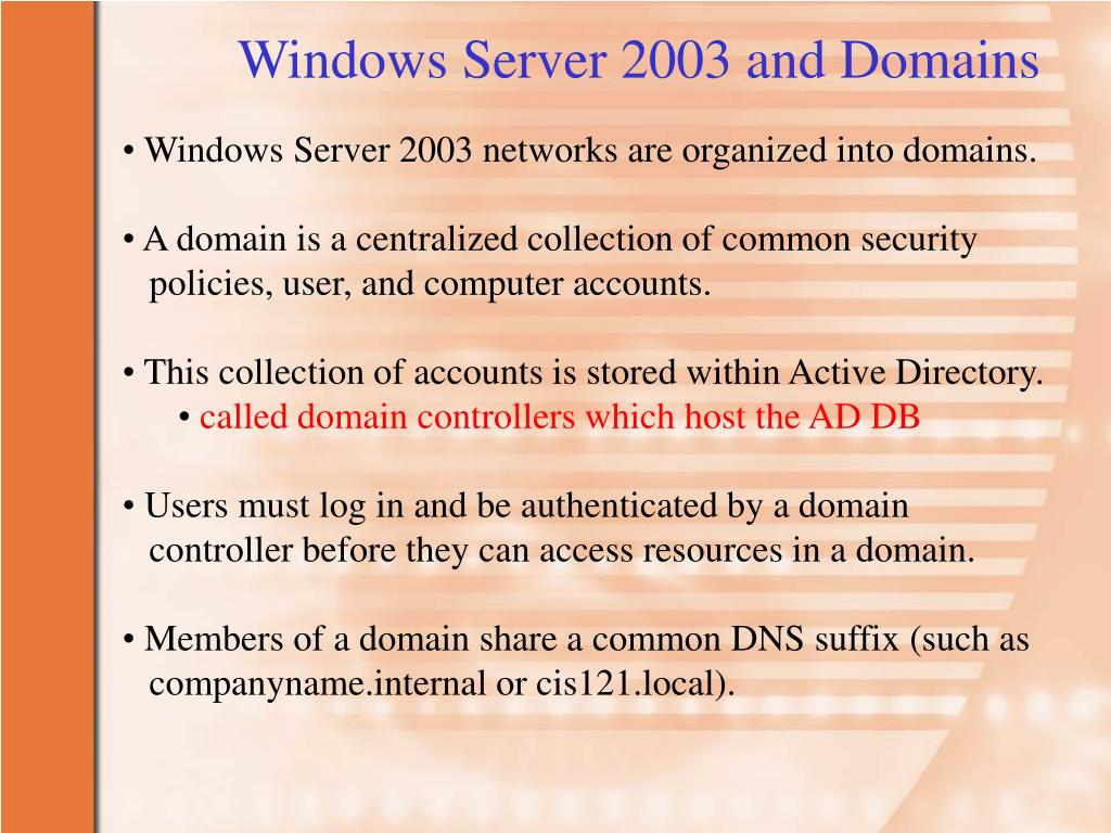 Windows Server 2003 and Domains