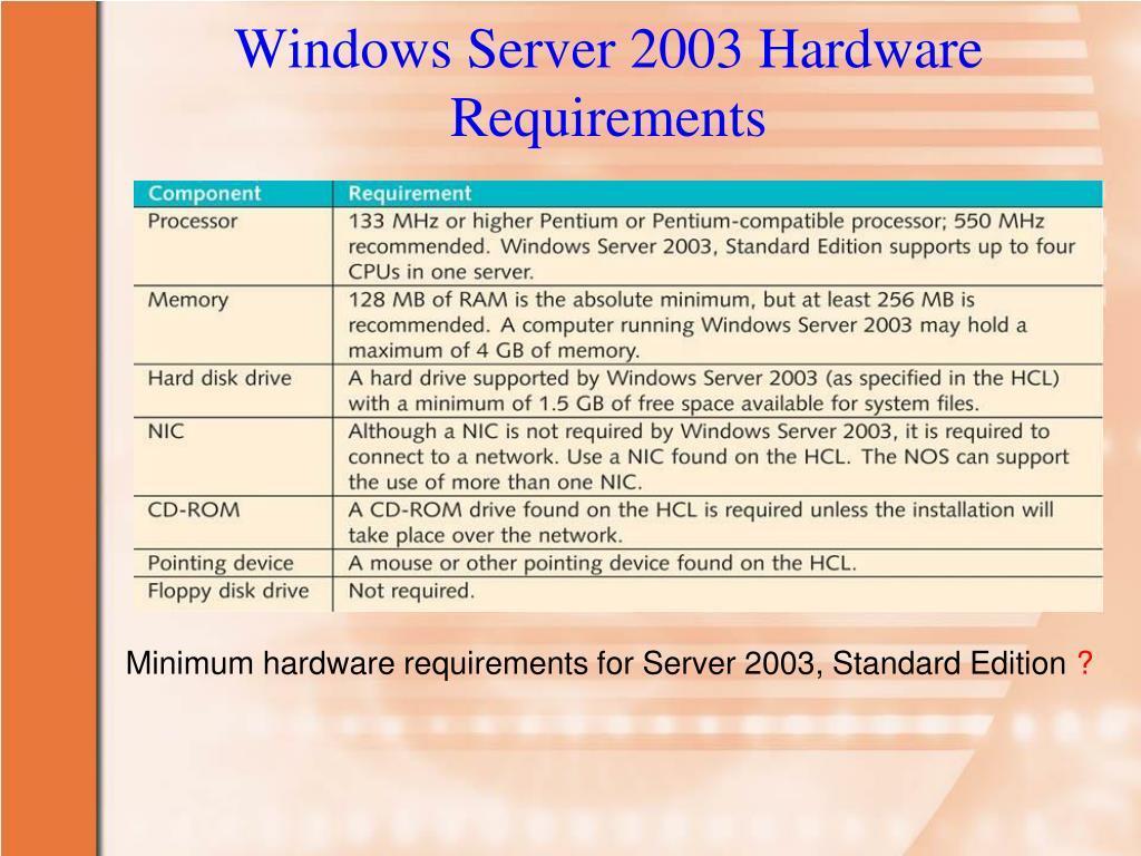Windows Server 2003 Hardware Requirements