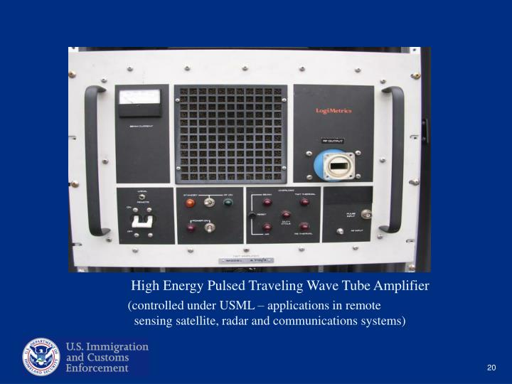 High Energy Pulsed Traveling Wave Tube Amplifier