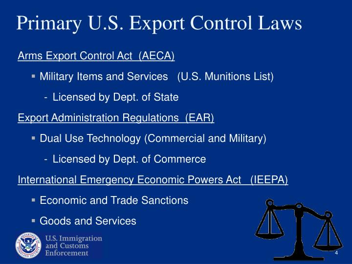 Primary U.S. Export Control Laws