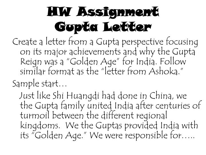 Hw assignment gupta letter