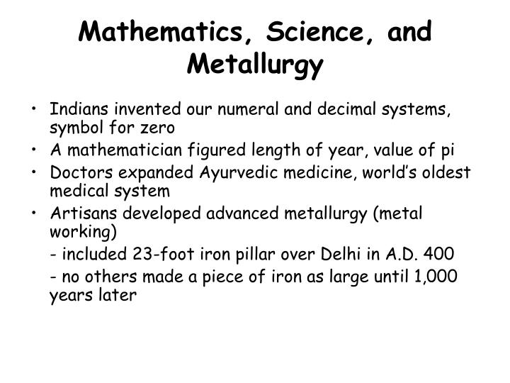 Mathematics science and metallurgy