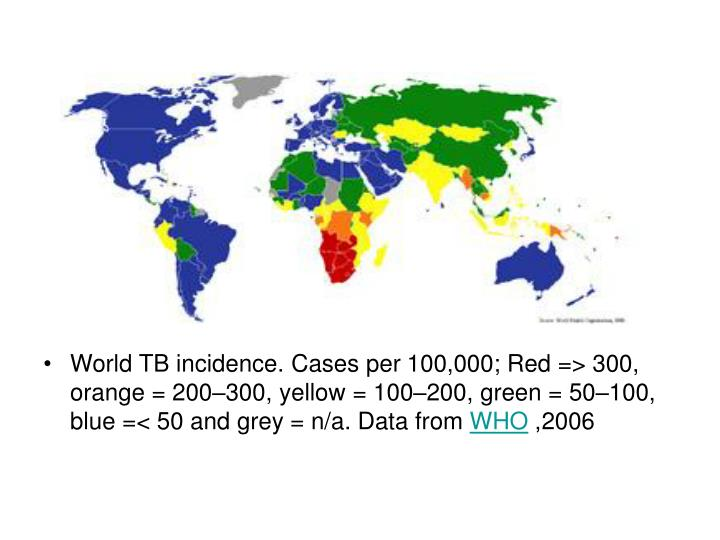 World TB incidence. Cases per 100,000; Red => 300, orange = 200–300, yellow = 100–200, green = 50–100, blue =< 50 and grey = n/a. Data from