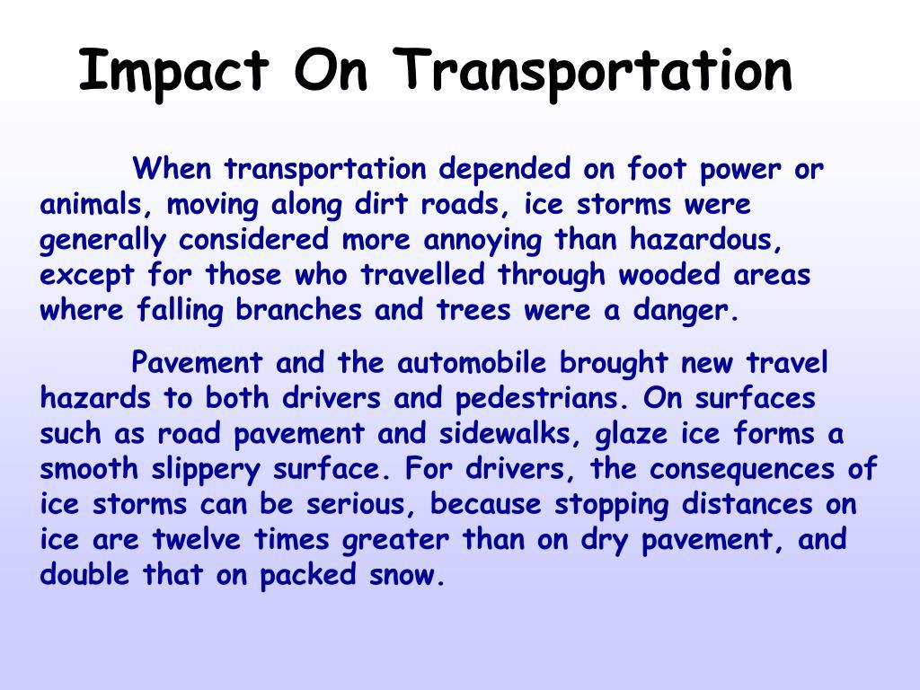 Impact On Transportation