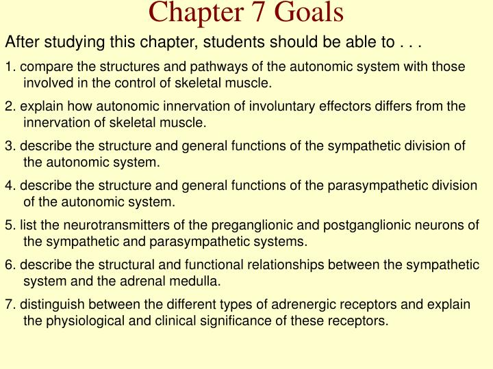 Chapter 7 Goals