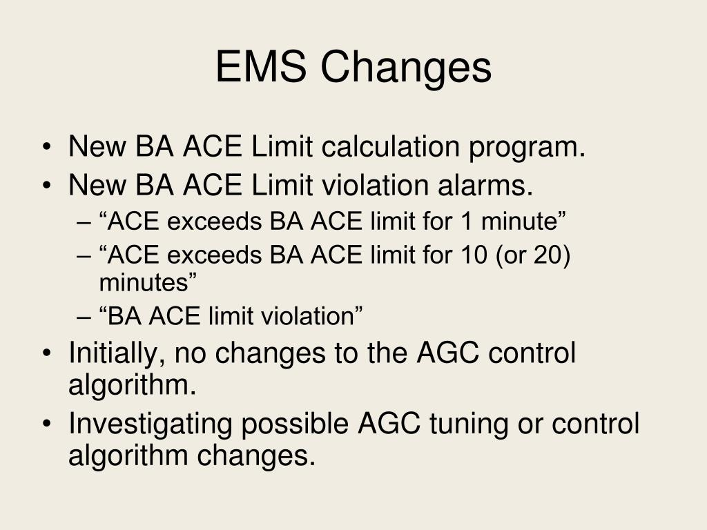 EMS Changes