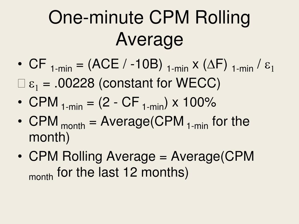 One-minute CPM Rolling Average