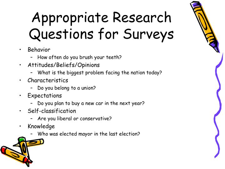 Appropriate research questions for surveys1