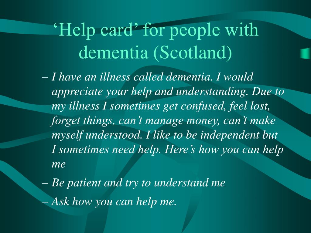 'Help card' for people with dementia (Scotland)