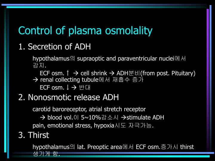 Control of plasma osmolality