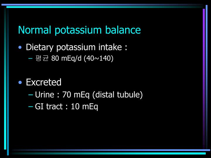 Normal potassium balance