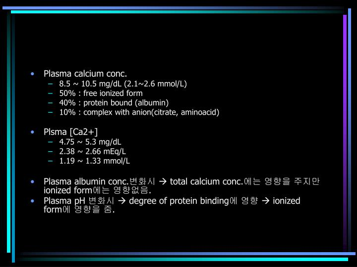 Plasma calcium conc.