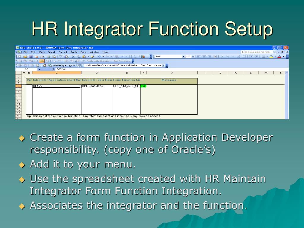 HR Integrator Function Setup