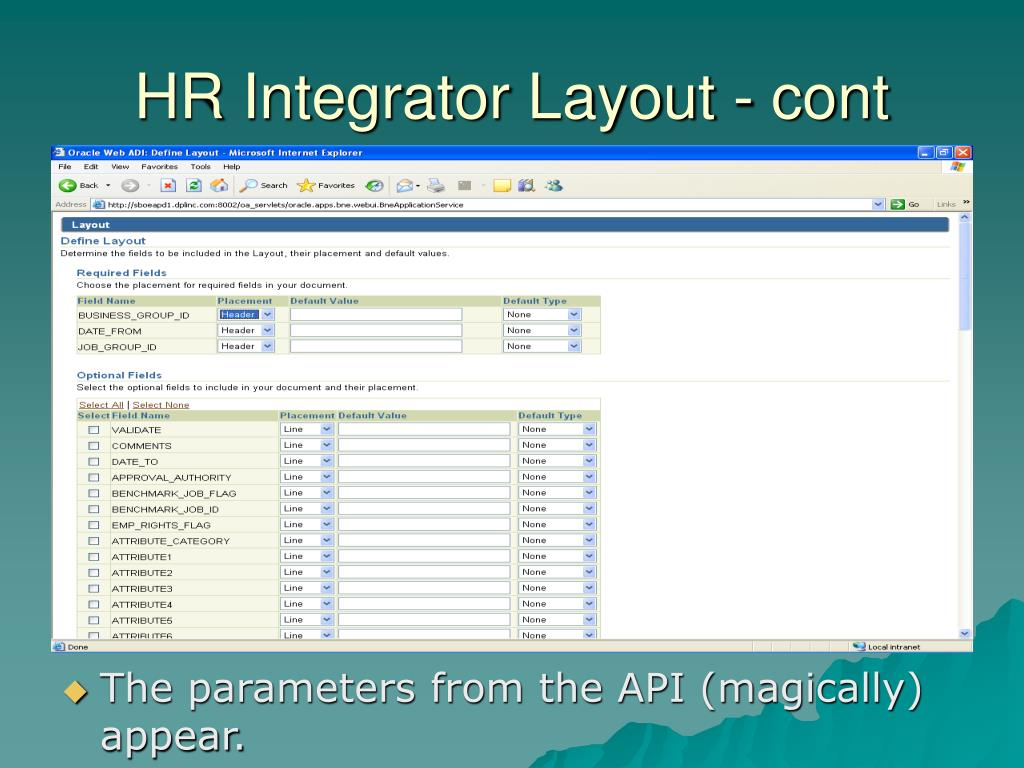 HR Integrator Layout - cont