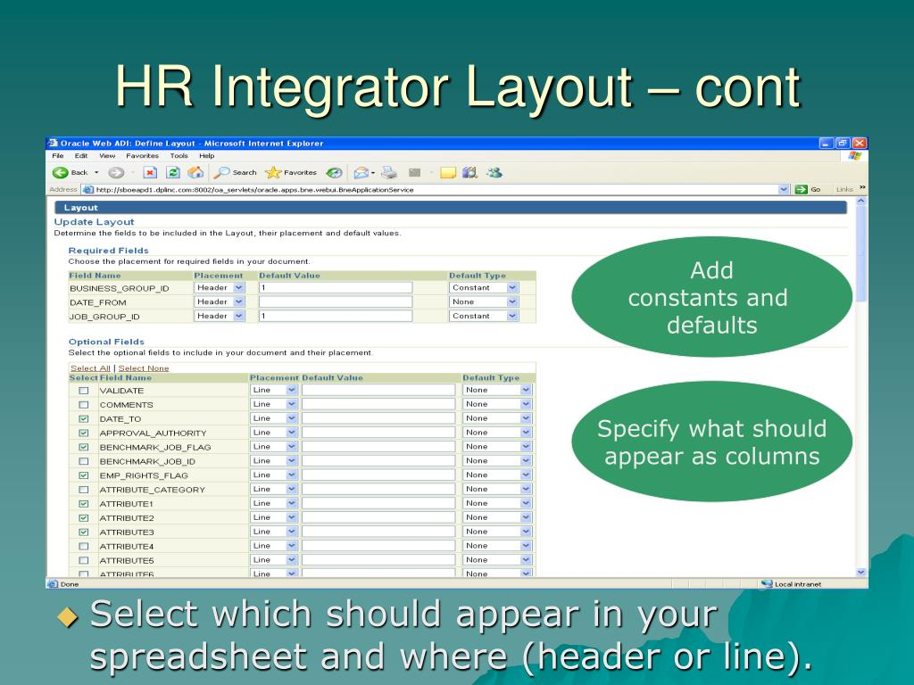 HR Integrator Layout – cont