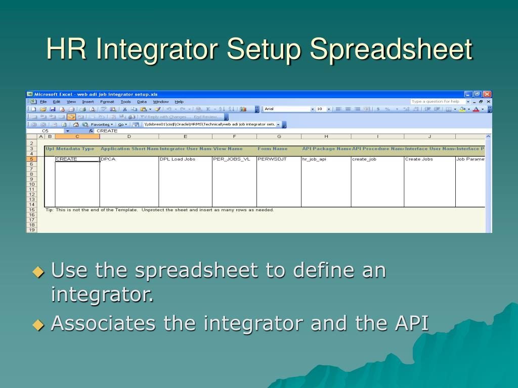 HR Integrator Setup Spreadsheet