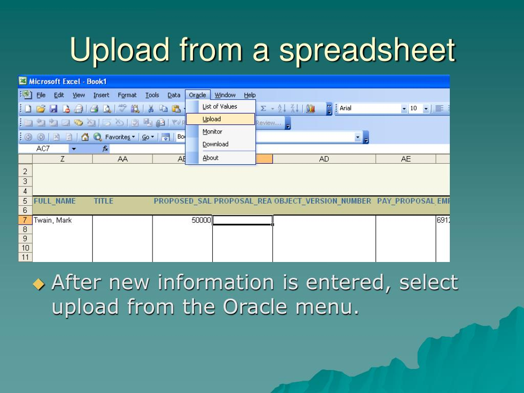 Upload from a spreadsheet