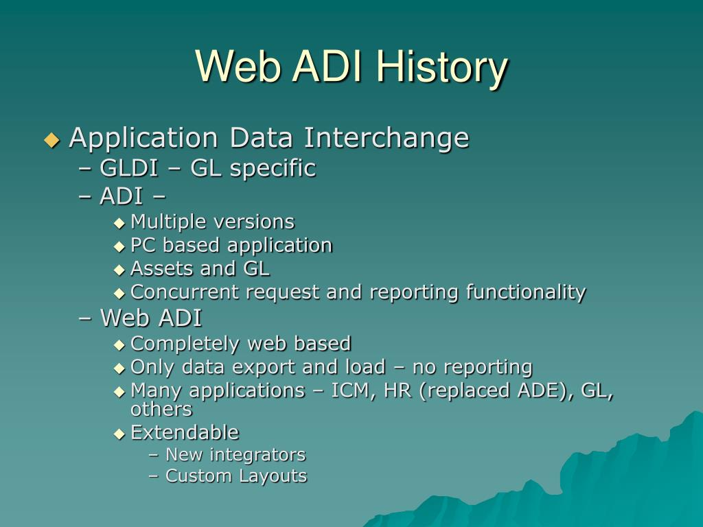 Web ADI History