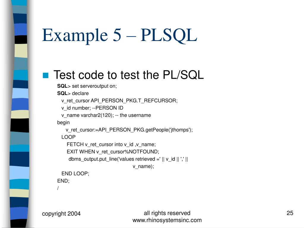Test code to test the PL/SQL