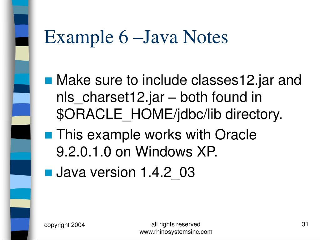 Example 6 –Java Notes