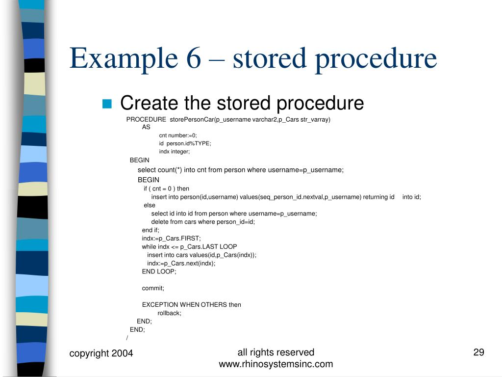 Create the stored procedure