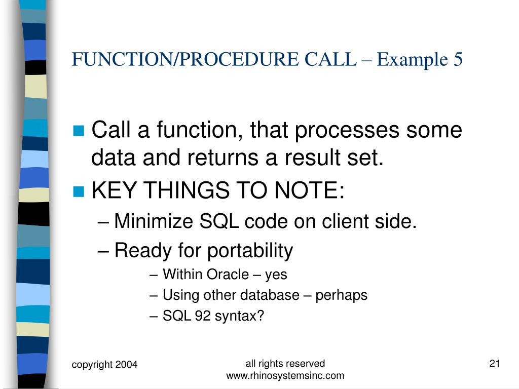 FUNCTION/PROCEDURE CALL – Example 5