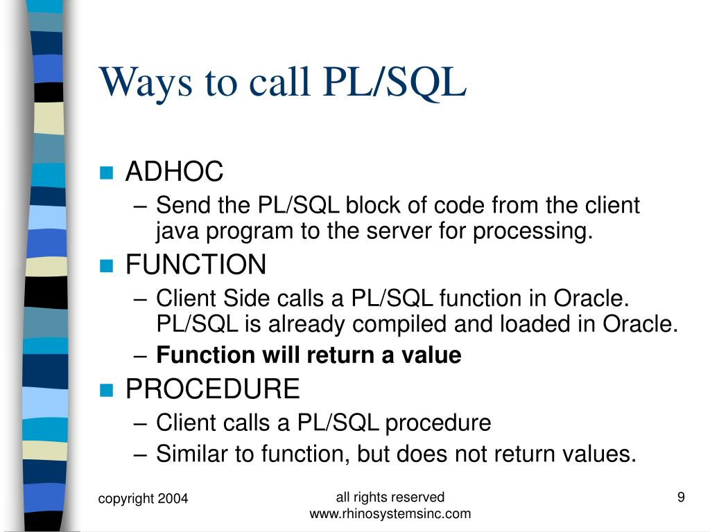 Ways to call PL/SQL