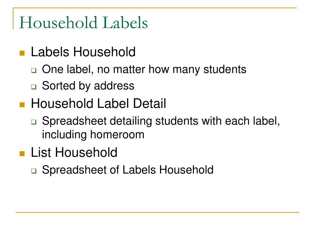 Household Labels