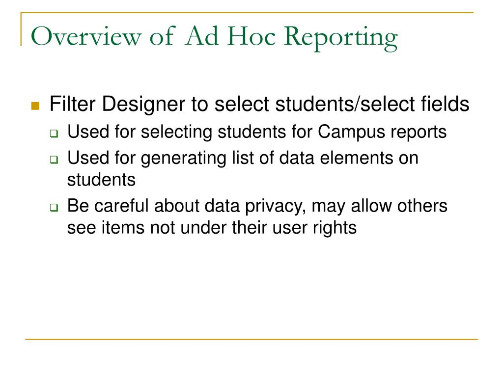 Overview of Ad Hoc Reporting
