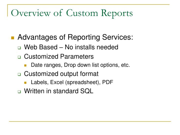 Overview of custom reports3