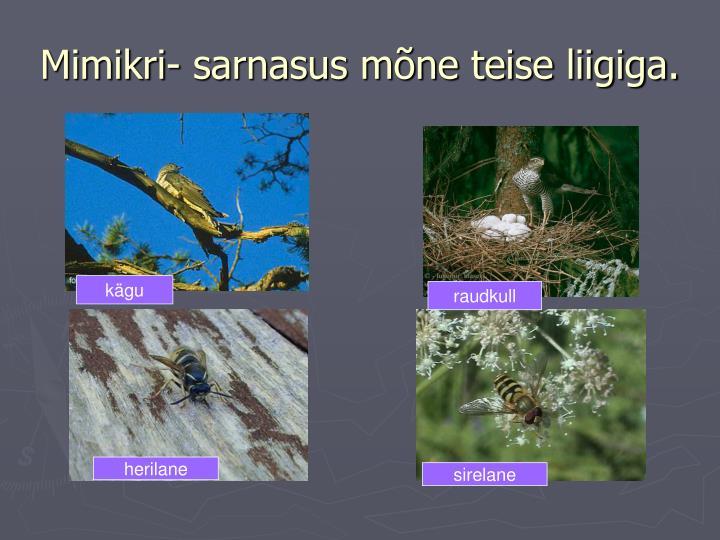 Mimikri- sarnasus mõne teise liigiga.