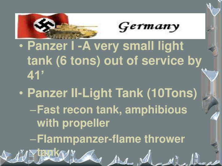 Panzer I -A very small light tank (6 tons) out of service by 41'