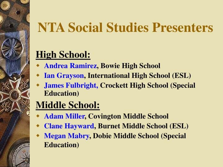 NTA Social Studies Presenters