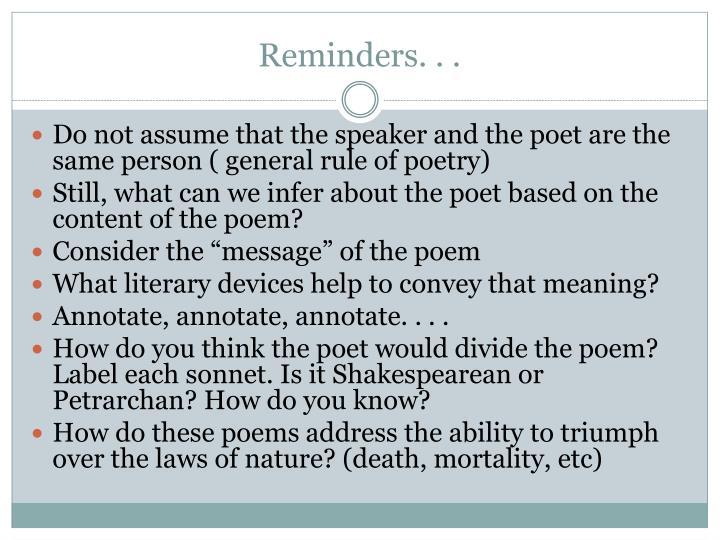 Reminders. . .
