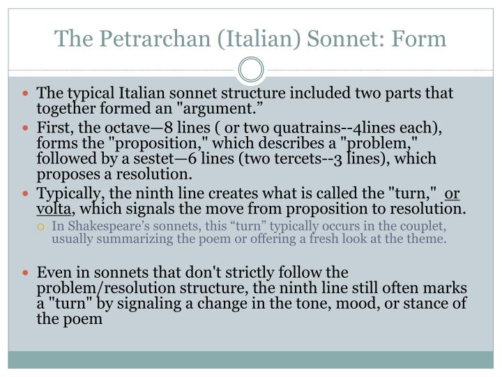The Petrarchan (Italian) Sonnet: Form