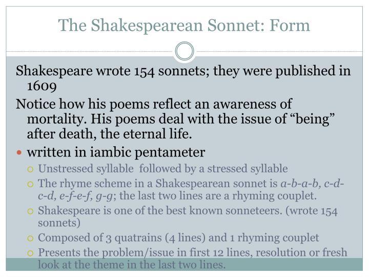 The Shakespearean Sonnet: Form