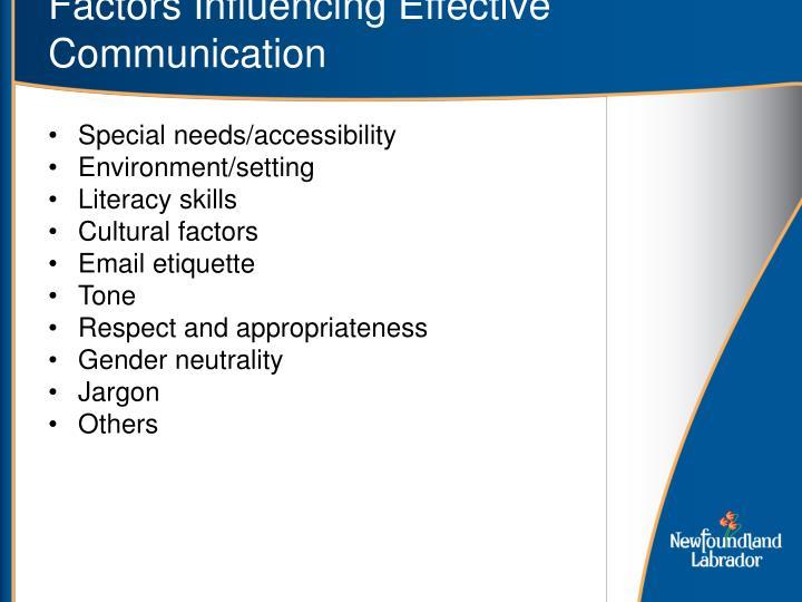 Factors Influencing Effective Communication