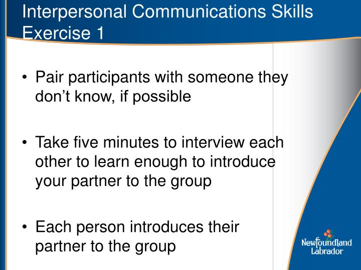 Interpersonal Communications Skills Exercise 1