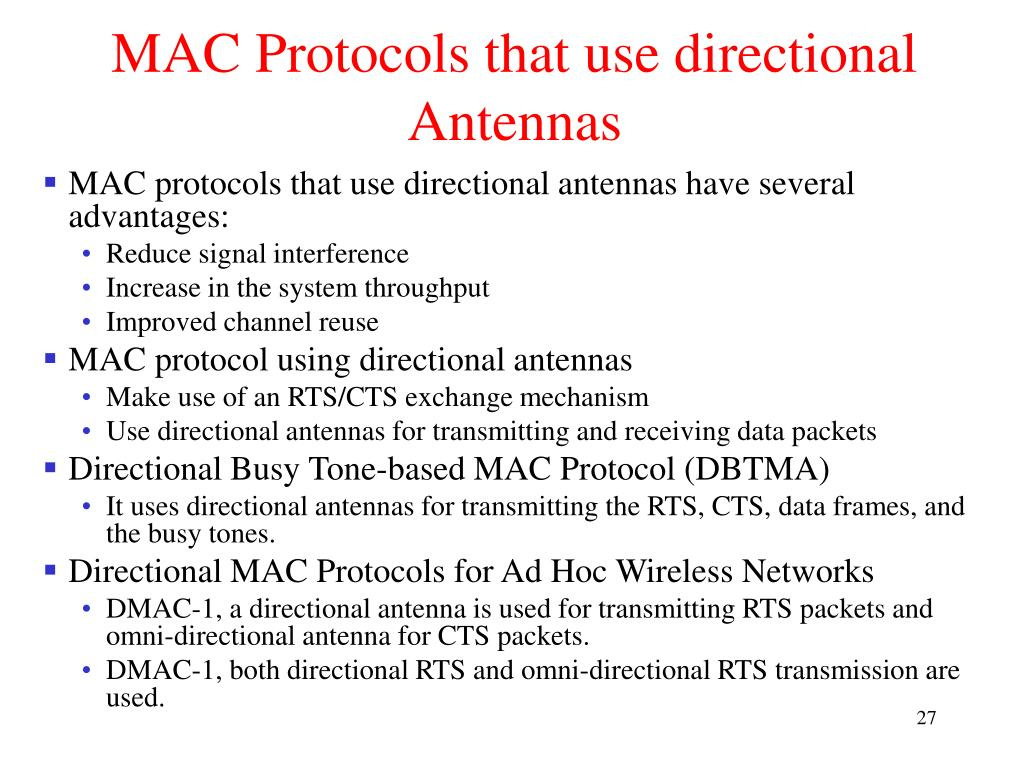 MAC Protocols that use directional Antennas