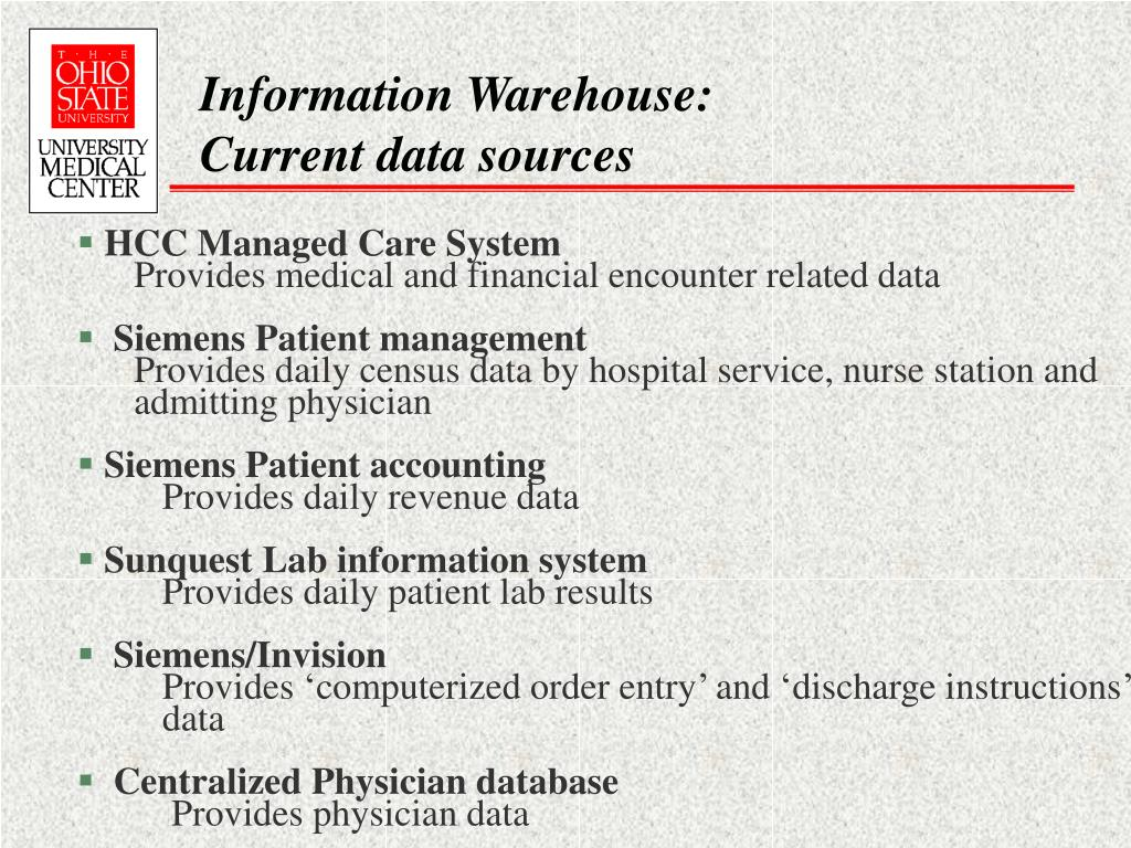 Information Warehouse: