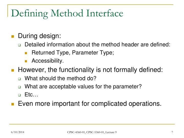 Defining Method Interface