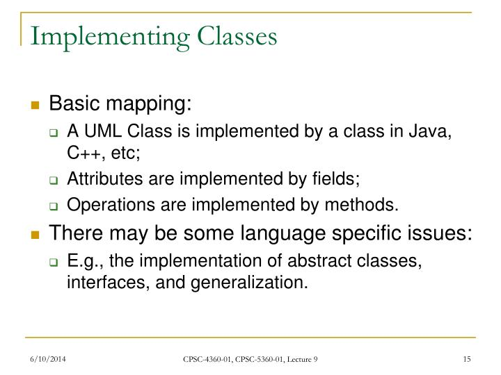 Implementing Classes