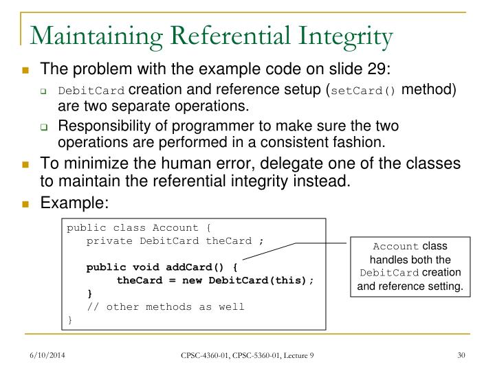 Maintaining Referential Integrity
