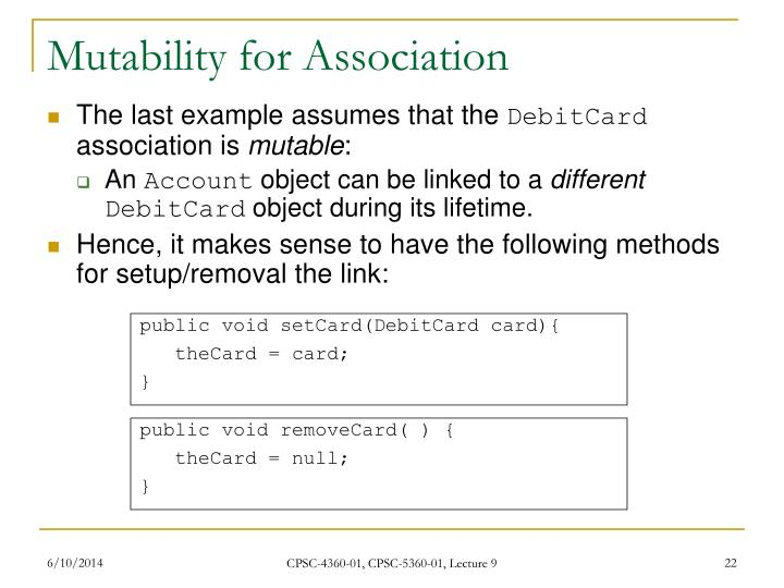 Mutability for Association